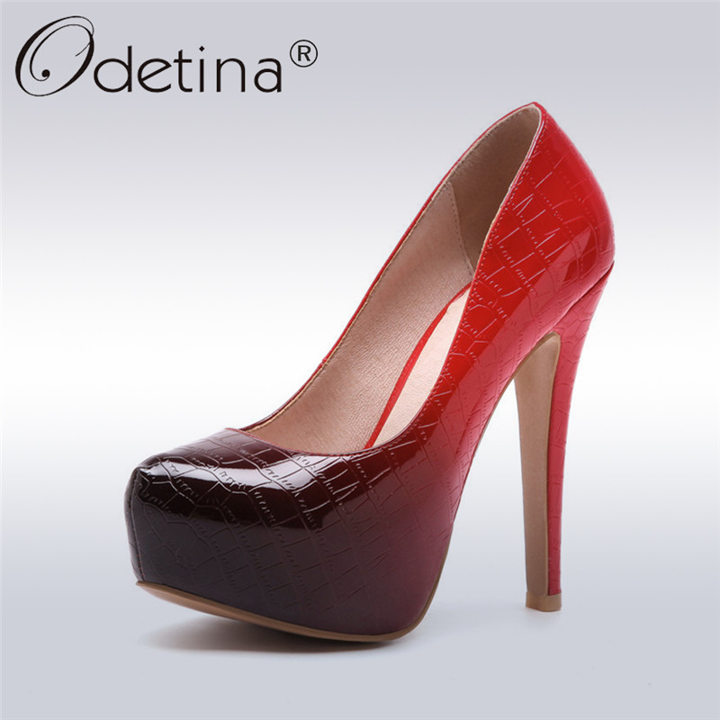 Odetina 2018 New Fashion Stilettos Super High Heels Women Shoes Platform Ladise Pumps Paty Sexy Shoes Slip On Pumps Big Size 48 new arrival women sky blue high heel slip on sexy stilettos white cloud decoration cute bride shoes wedding women stilettos pump
