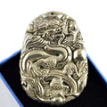 High Quality Natural Iron Pyrite Fine Carved Chinese Emperor Right Symbol Dragon Pendant For Men