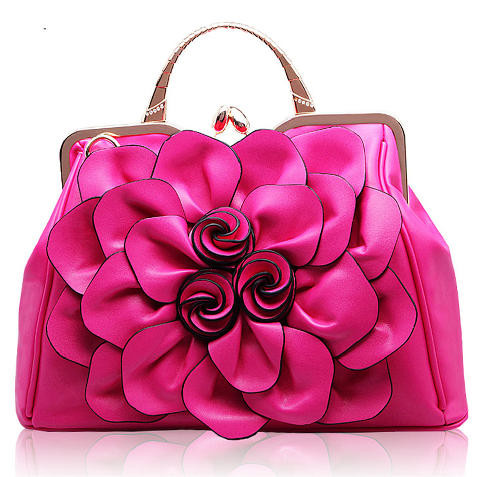 New arrivel Fashion Women top-handle bags exquisite Handmade rose flower design female PU Leather lady Messenger Bags totes Bag elegant top handle handbags female new designer pu leather evening bag 2017 fashion high grade exquisite embroidered women totes