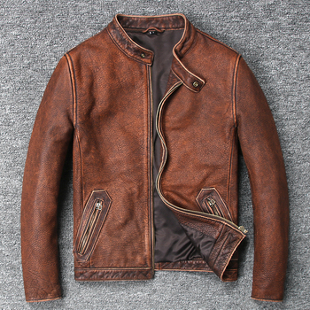 YOLANFAIRY 100% Pure Cow Leather Coat For Men Spring Autumn Geniune Leather Jackets Short Slim Motocycle Vintage Outwear MF131