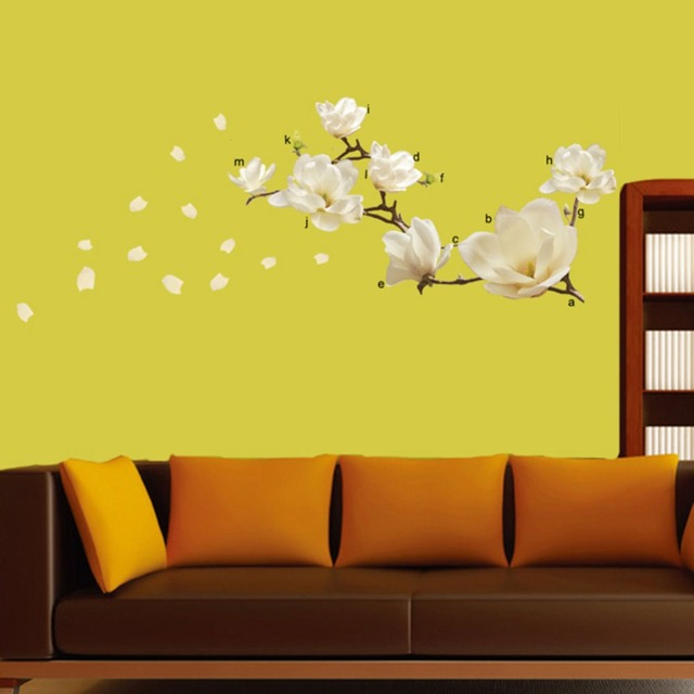 Removeable Waterproof Magnolia Flower DIY Art Mural Removable Wall ...