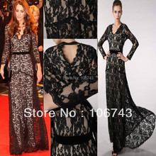 free shipping 2013 hot seller new black dress plus size Lace Long-sleeve Formal Prom Maxi Ball Women mermaid gown evening dress lace plus size maxi prom princess wedding dress