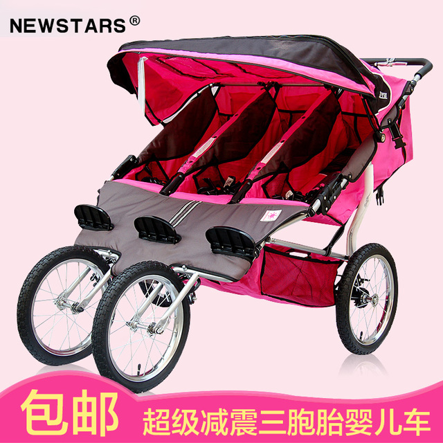 Newstars SA Triplo Jogging Stroller, Rosa Cor vermelha, EN Foi Aprovado