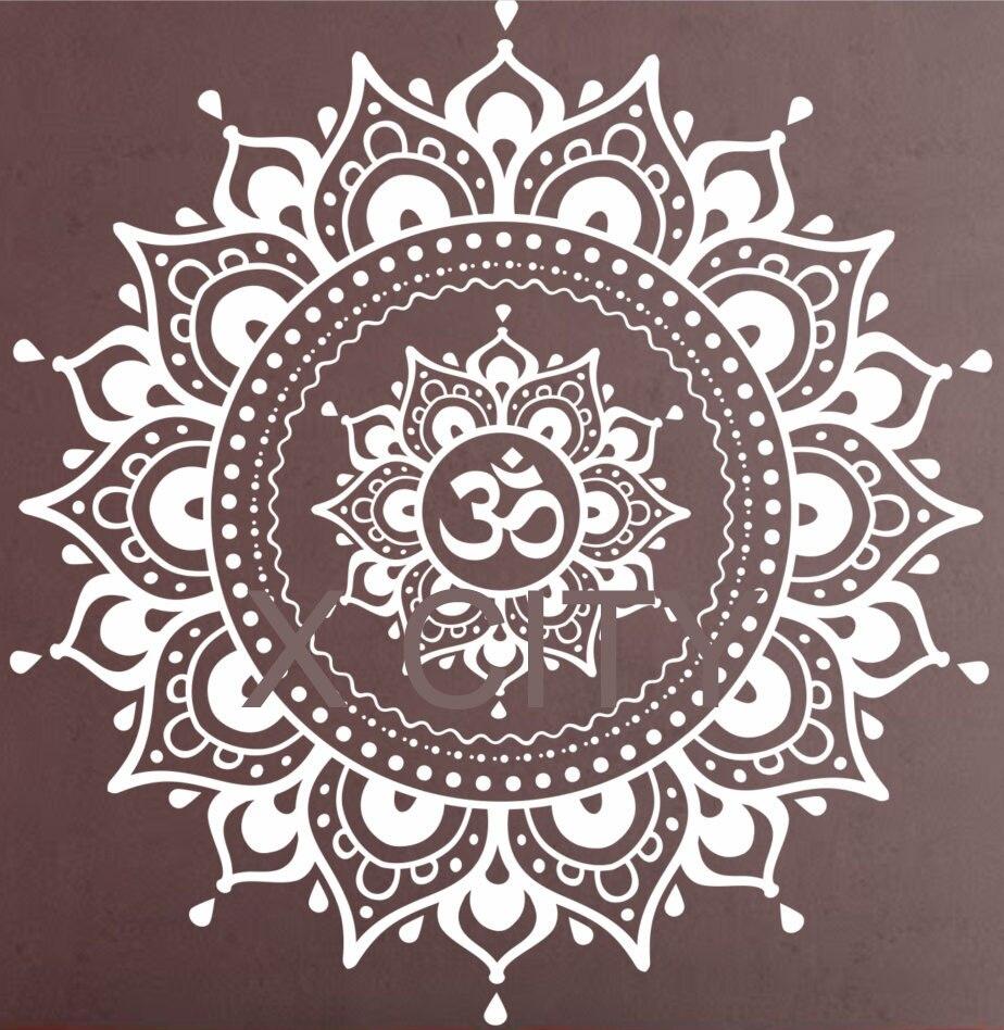 Мандала шаблон Большой Наклейка на стену винил Книги по искусству Стикеры Йога лотоса медитация Домашний Декор росписи черный, белый цвет