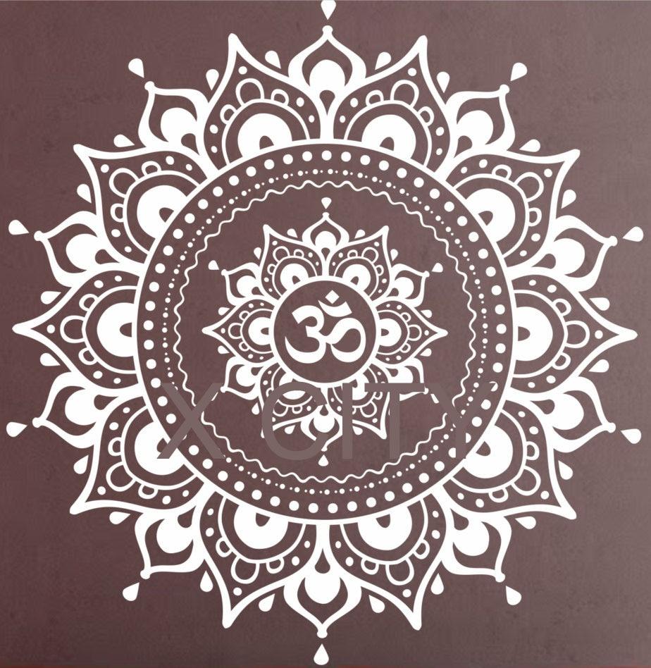 Мандала узор большая наклейка на стену виниловая художественная наклейка Йога Медитация в позе лотоса домашний декор настенная черно-бела...