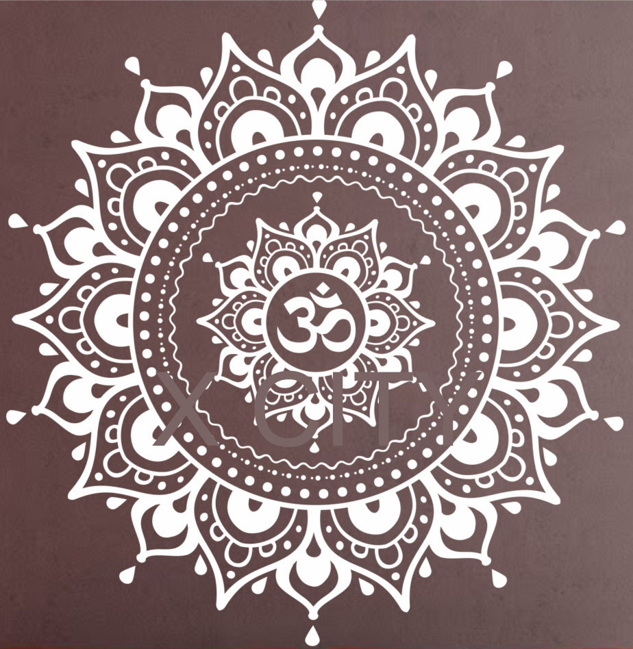 Mandala Patroon Groot Muurtattoo Vinylkunst Sticker Yoga Lotus Meditatie Home Decor Muurschildering Zwart Wit
