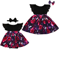 2017 Summer Children Kids Floral Dress Sister Match Family Clothes Ruffles Lace Dresses Sundress Matching Clothing