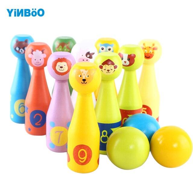 1d5cc0e6fa Legno per bambini giocattolo di legno gioco di bowling 3 bambini regali per  i bambini 2