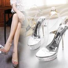 b5e8e57fa Sandálias de verão Super fino Cristal de Alta-salto alto 14 cm  WaterproofFemale Modelos de