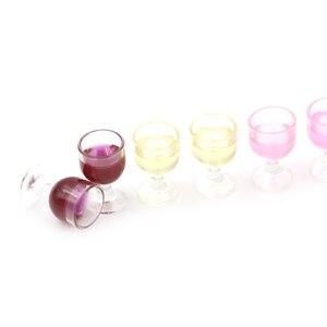 Image 4 - 2Pcs מיני אדום יין כוס סימולציה ריהוט יין זכוכית גביע עבור בובת בית קישוט 1/12 אביזרי בית בובות מיניאטורות