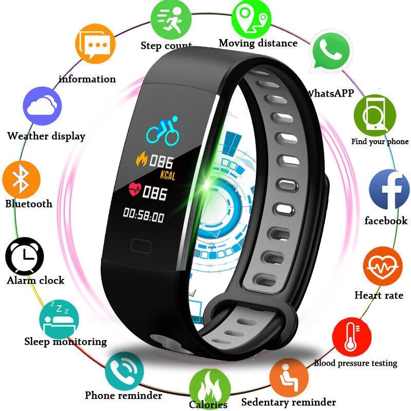 BANGWEI Montre Smart Watch Femmes Hommes Sport Montre de Course Escalade Équitation Multi-Fonction Podomètre Fréquence Cardiaque moniteur de pression Artérielle + boîte