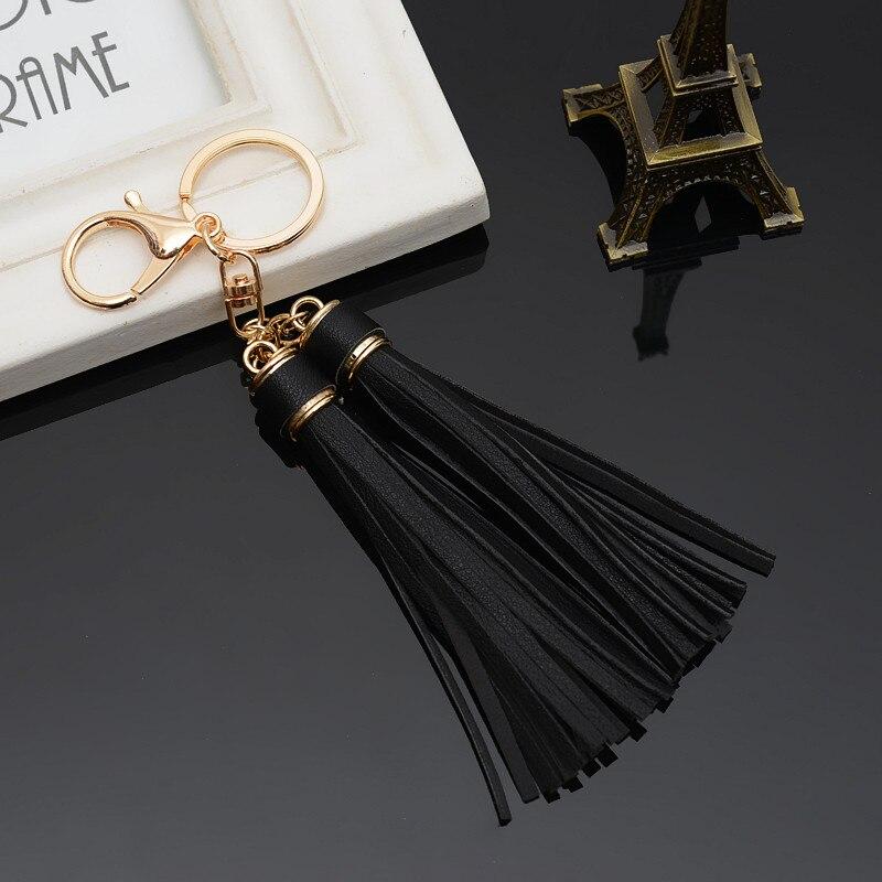 Felyskep Hot SaleWomen 2 Pieces PU Leather Tassels Key Chain Car Keychain Bag Gold Key Ring For Women Bag Jewelry 260WA