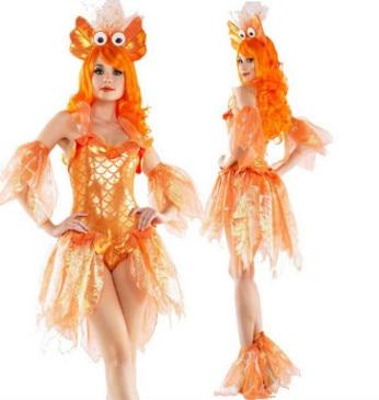2017 halloween COS costume female adult goldfish animal cosplay dress mermaid dress clothing