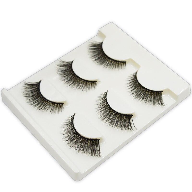 Pares de Cílios Falsos Cílios Vison 3D 3 Grosso Cruzam Maquiagem Extensão Dos Cílios Volume Natural Macio Olho Falso Lashes 3D35