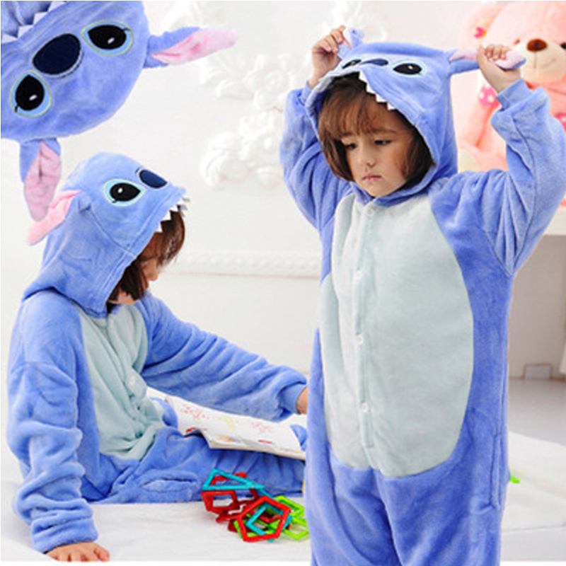 Stitch Pyjamas Kids Pajamas For Girls Bathrobe Cosplay Anime Animal Children Onesie Boys Sleepers Home Clothes Flannel Pijama cute infant lace long custom made baby girls newborn baptism rope christening dress blessing gown with bonnet
