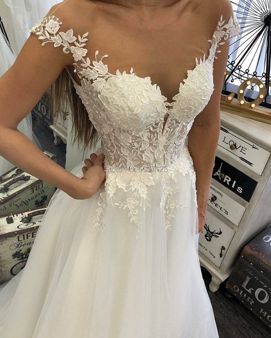 Image 2 - A Line Wedding Dresses Off the Shoulder V Neck Lace Appliques Sleeveless Sweep Train Tulle Vestido De Noiva Mariage Custom-in Wedding Dresses from Weddings & Events