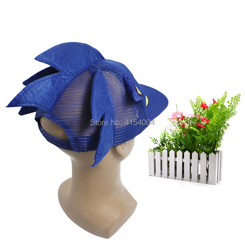 10 pcs/lot Sonic  Adjustable blue Baseball Hat Cap Cartoon Summer Hat Plush Toy One Size Hot Selling  Christmas Gift