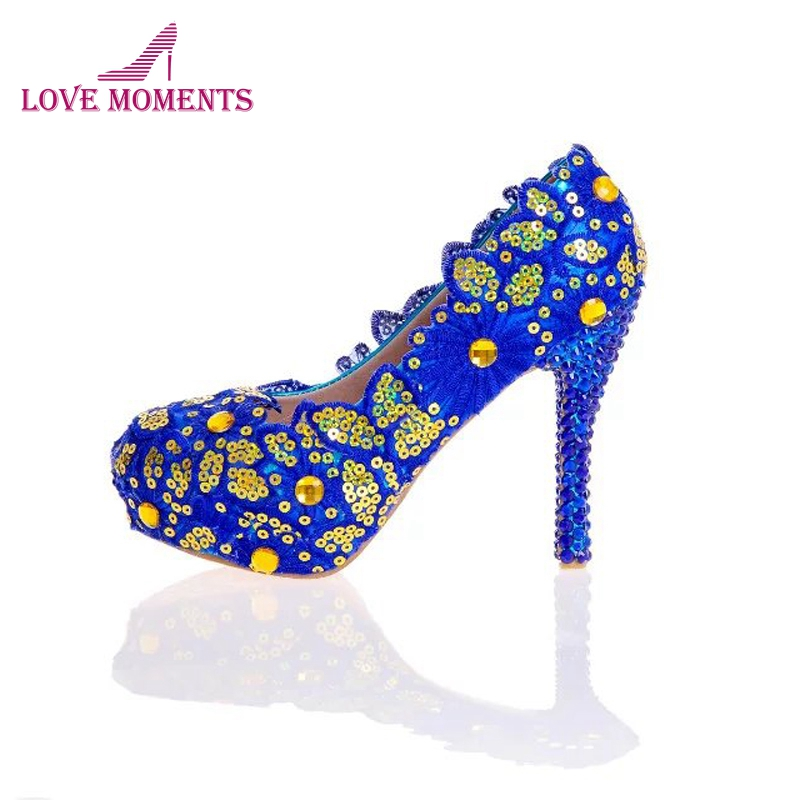 Blue Lace Flower Shoes Glitter Wedding Shoes Blue Rhinestone High Heel  Bridal Shoes Handmade Lady Formal Dress Shoes Plus Size 8421841279ce