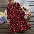 Autumn and Winter Dresses Red Blue Color Floral Print Long Sleeve Plus Size Dress O Neck Corduroy Preppy Dress