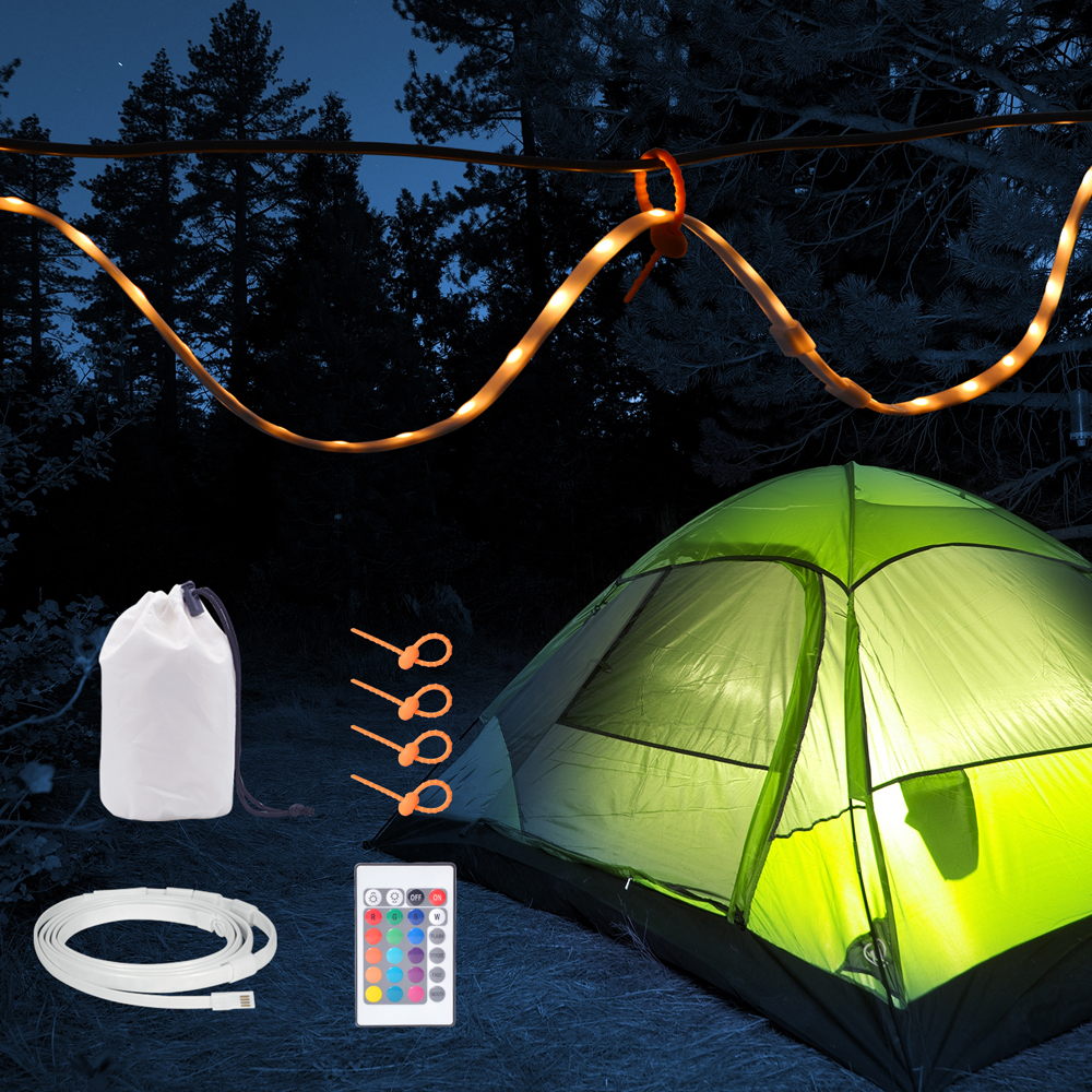 1.5M RGB USB Strip Portable LED Rope Lights with 24K Controller for Camping, Hiking, Emergency, Camping Lantern,White/WarmWhite