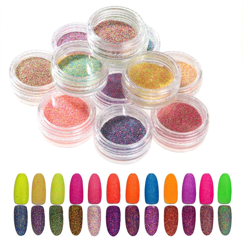 12 Colors Nail Design Glitter Powder Colorful Nail 3D ...
