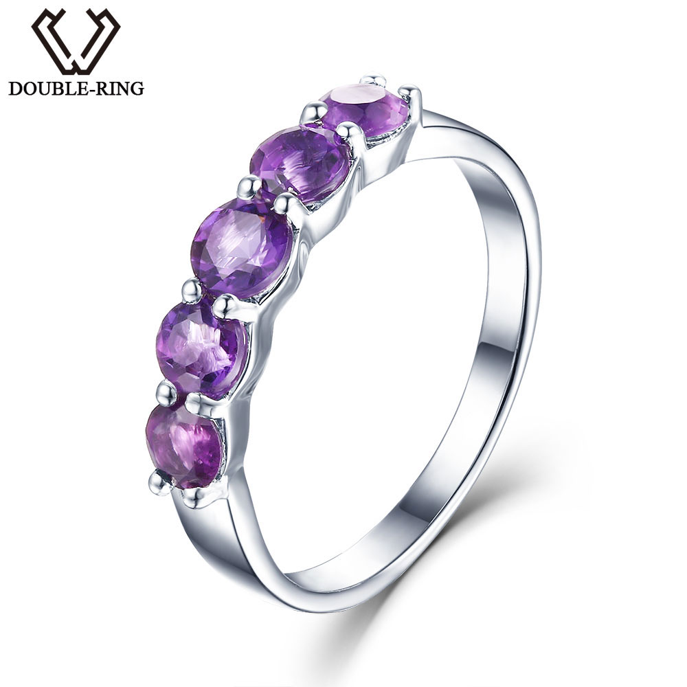 DOUBLE R Natural Amethyst 1.16 ct 925 Sterling Silver Ring