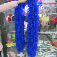 2 Meters 6 Layer sapphire Natural Ostrich Feathers Boa Quality Fluffy Costumes / Trim for Party / Costume / Shawl / Available