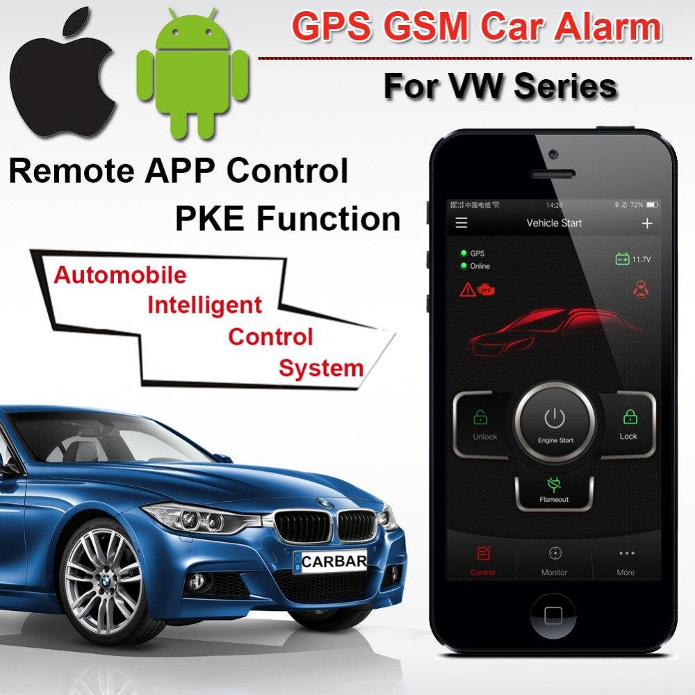 Alarme de voiture de qualité supérieure PKE GSM pour VW SKoda Seat série bouton d'arrêt de démarrage sans clé