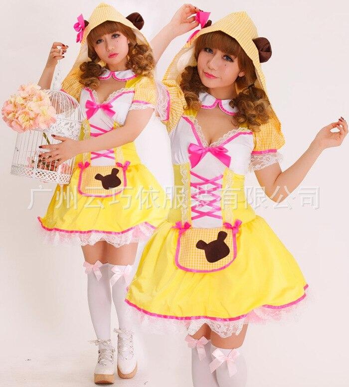 Moonight yeni lolita sevimli sarı ayı kostüm cadılar bayramı kostüm partisi duş dress