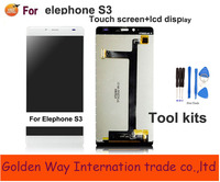 Angcoucoux Pancel Digitador Assembléia + Display LCD de Tela de Toque Do Telefone Móvel Peças de Reposição Para Elephone S3 LCD Kits de Ferramentas