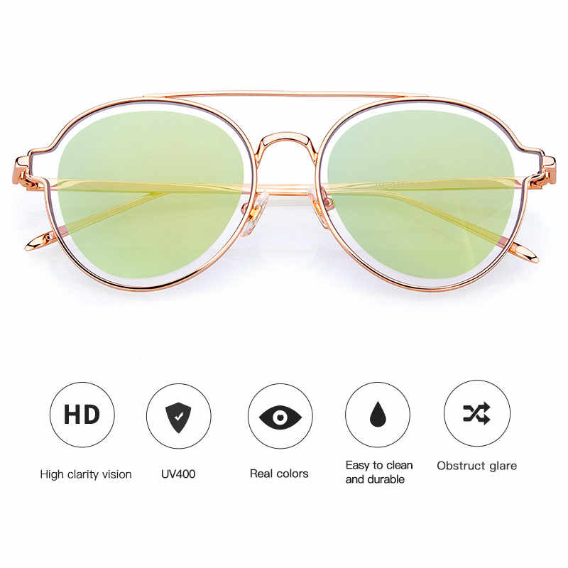 Twin-vigas COLOSSEIN Pinglas Rodada Óculos De Sol Das Mulheres Óculos de Lente Dupla PC Designers Da Marca Não-Óculos polarizados Óculos de Lente Clara
