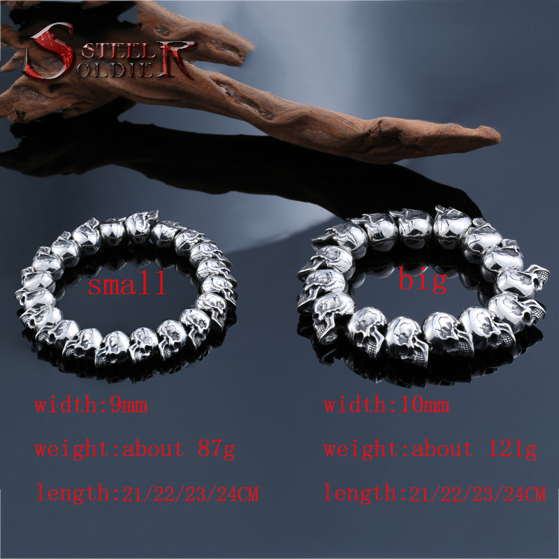 steel soldier rock skull design 316L Stainless Steel bracelet punk men fashion and Vintag Jewelry