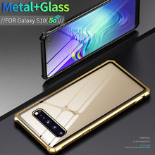 For Samsung Galaxy S10 5G Case Luxury Metal Frame Bumper For Samsung S10 5G Not S10 Case Clear Transparent Tempered Glass Cover protective plastic bumper frame for samsung galaxy note3 blue transparent