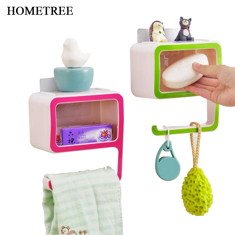 HOMETREE New Multifunction 9 Plastic Shelving Racking Magic Seamless Paste Wall Style Soap Box Bathroom Toilet Shelves Rack H763