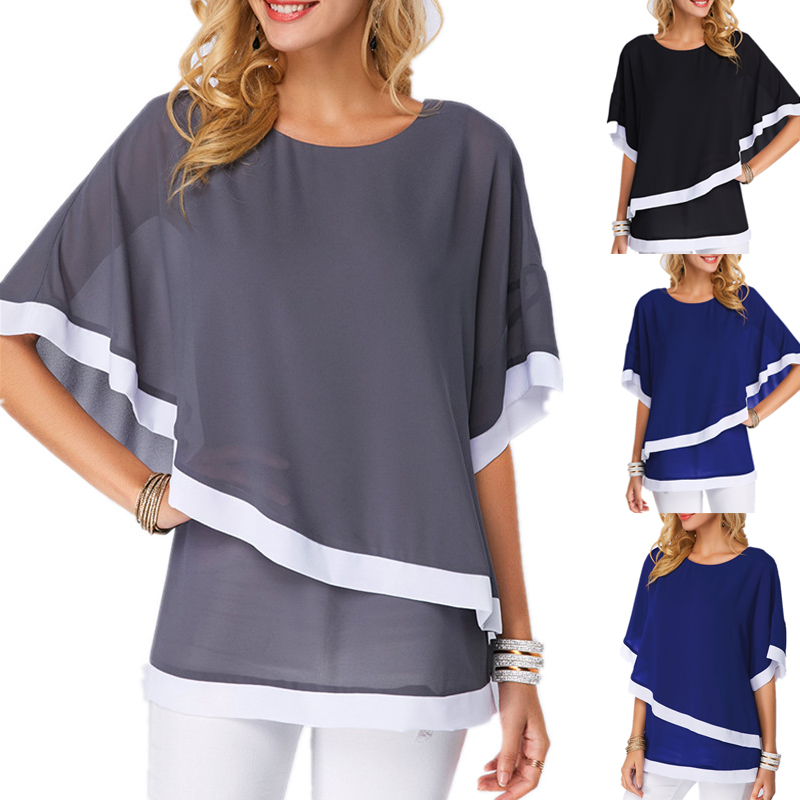 Summer Women Chiffon Shirt 2019 Bat Sleeve Stitching Irregular Loose Casual 5XL Big Tops And Plus Size Blouse For Female Tunic