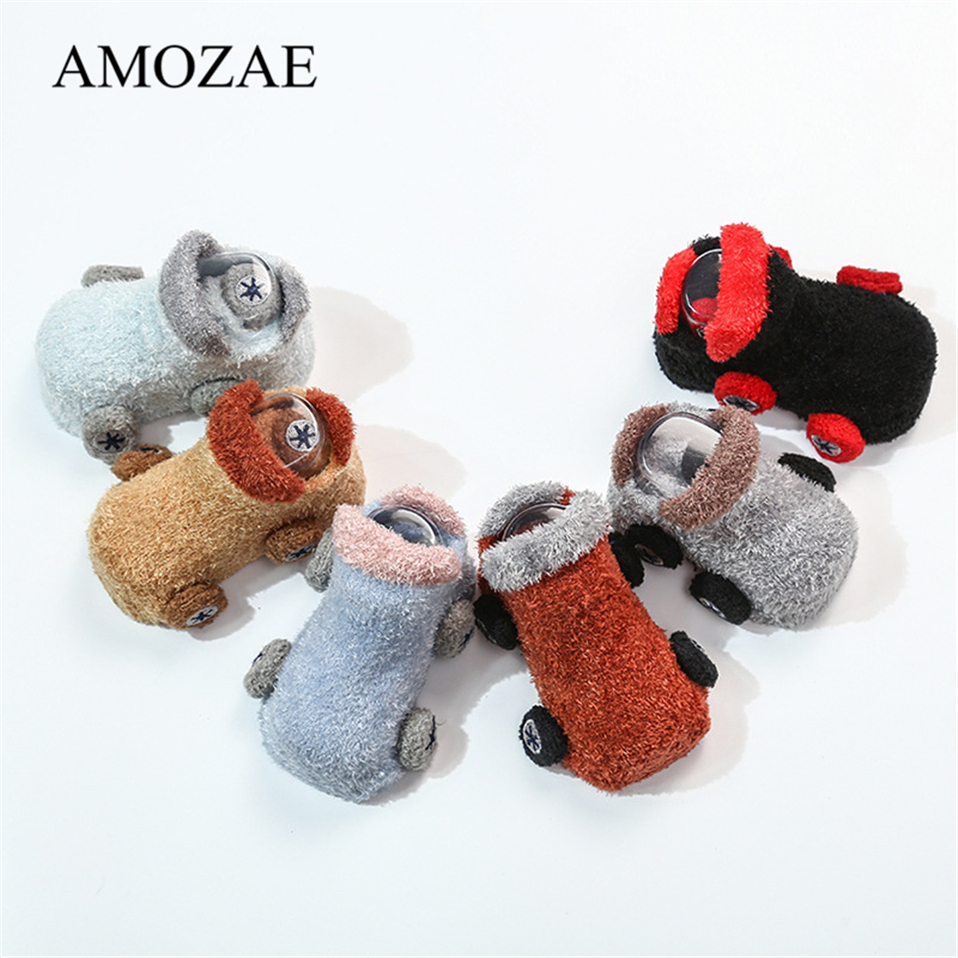 Fashion Soft Coral Fleece Baby Socks Cute Car Pattern Baby Girls Boys Socks Newborn Comfortable Sox Size S (0-12M) M (13-24M)