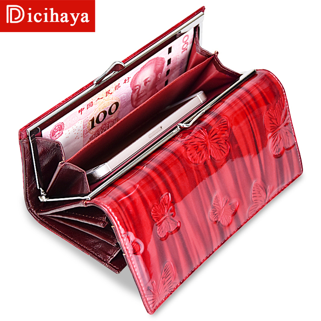 DICIHAYA Womens Wallets Women Leather Wallet Butterfly Design Ladies Clutch Patent Leather Purses Long Card Holder NEW 2019