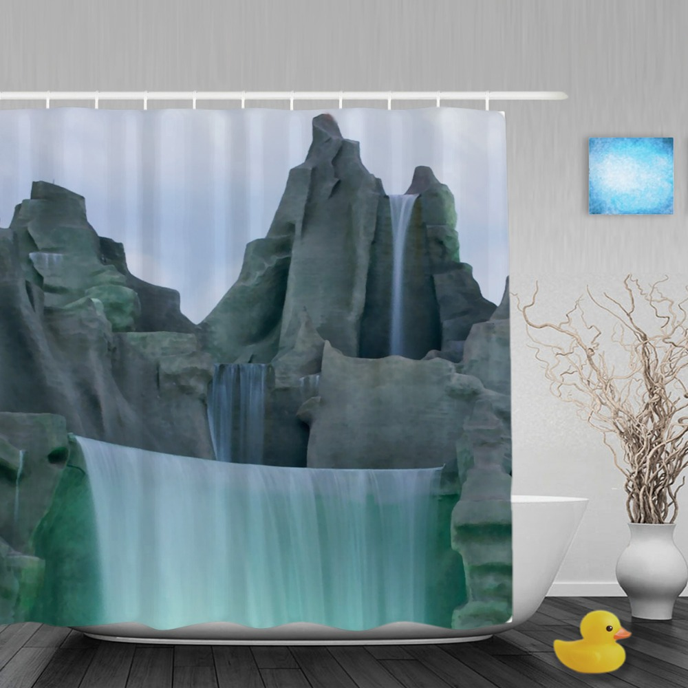 3d natural scenery decor shower curtains waterfall stone for Decor curtains
