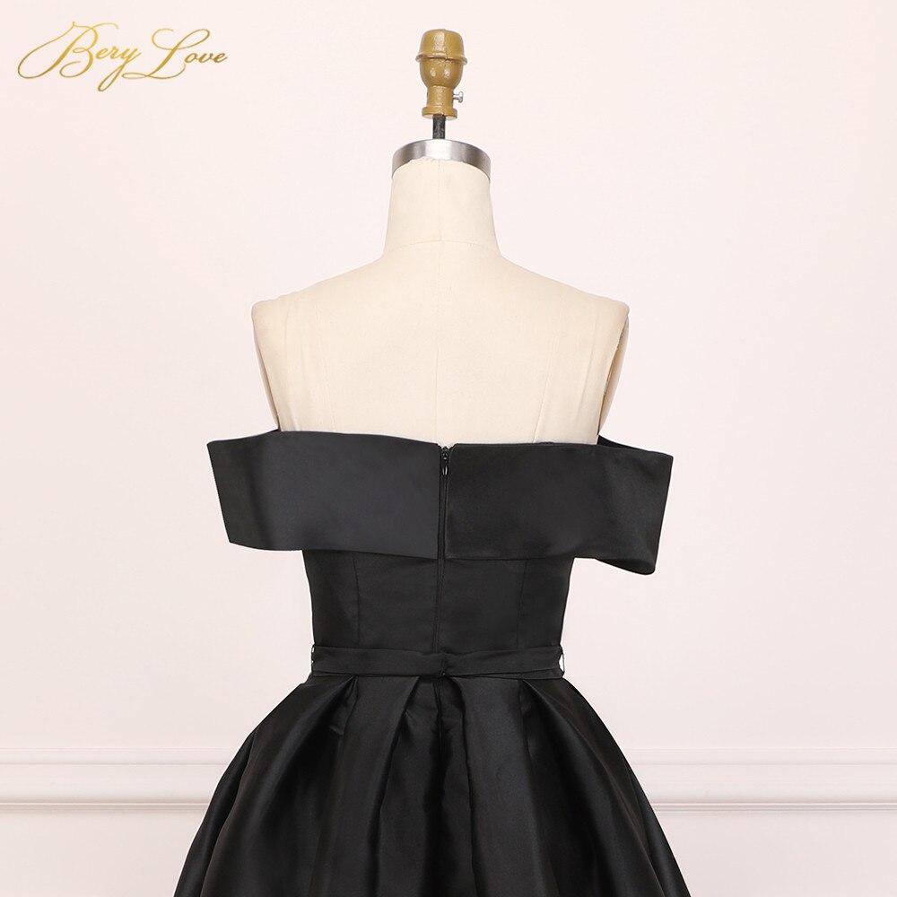 BeryLove élégant épaule dénudée Blush rose robe de soirée 2019 Satin soirée ceinture mode robe de bal fente formelle robe de soirée longue - 6