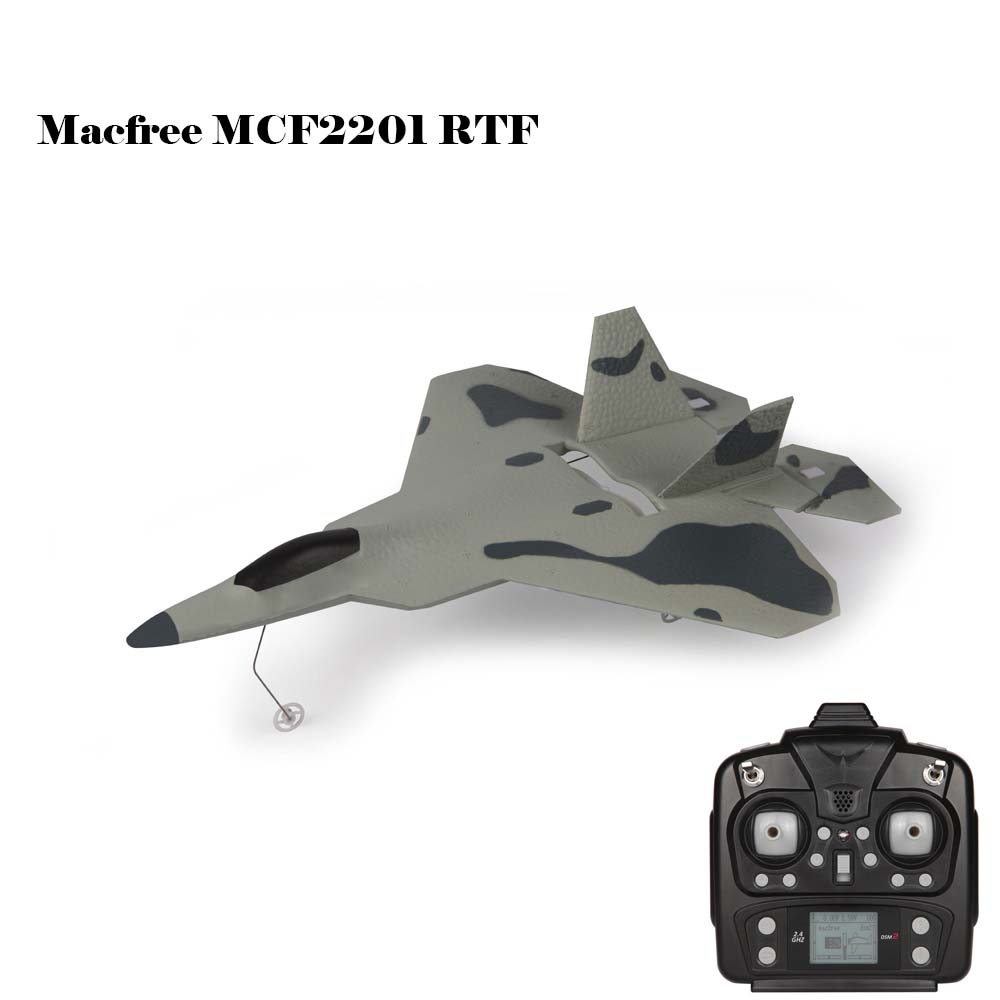 Original RC Airplane Macfree F 22 F22 MCF2201 Brushed 2.4GHz 6CH Built In 6 Axis Gyro Fixed Wing 222mm Wingspan Aeroplane RTF