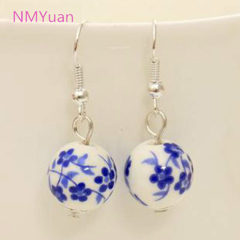 Personalized retro handmade porcelain ceramic national wind small domestic wholesale jewelry earrings for women