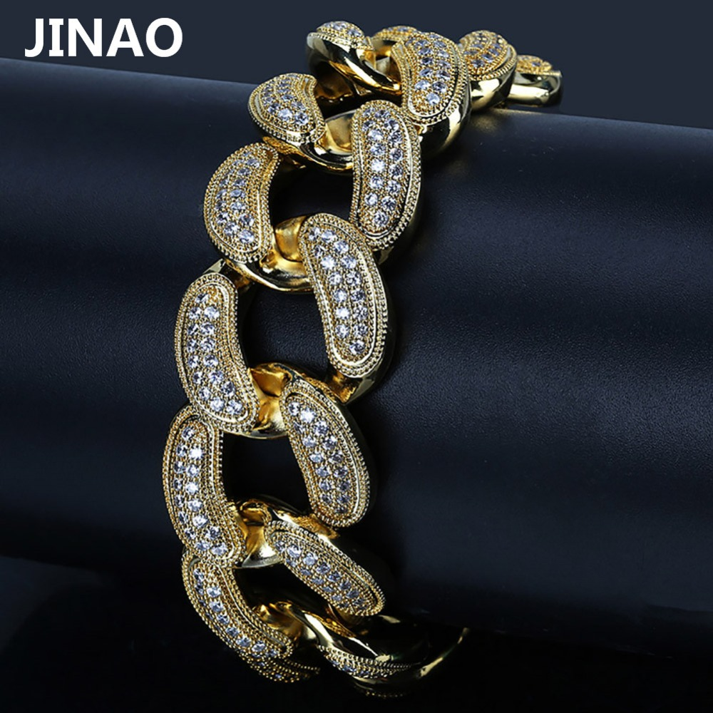 JINAO Hip Hop Gold Color Plated Miami Cuban Link Bracelets Iced Out Micro Pave CZ Stone Bling Bracelet Men Female Jewlery jinao gold silver color plated all iced out hip hop copper micro pave cz stone 4mm 6mm tennis chain necklace with 18202430