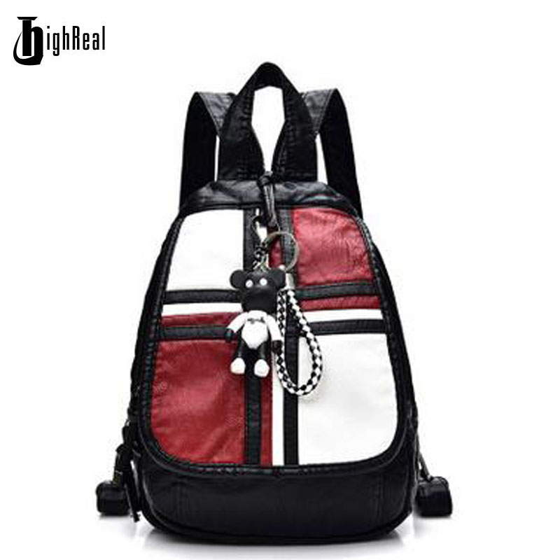 d61c9883a6e7 Fashion Women Leather Backpack for Teengaers Girls Famous Designer Cute  School Bags Ladies High Quality Female Backpacks J125-in Backpacks from ...