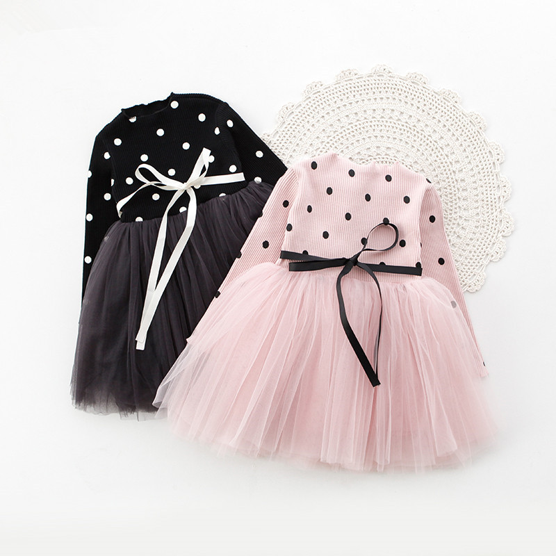 Tutu Dresses For Girls European Style Dot Mesh Girl Dress Bow Pink Princess Dress For Birthday Party Kids Clothes Ball Gown