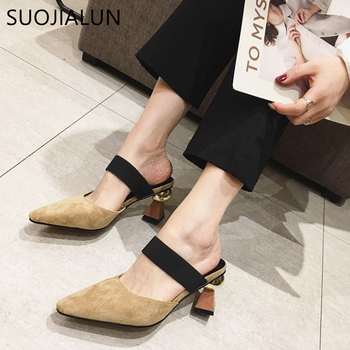 SUOJIALUN Spring Women Med Heels Mules Slippers Suede Strange Style Ladies Outside Slides Shoes Women Designer Sandal Slippers