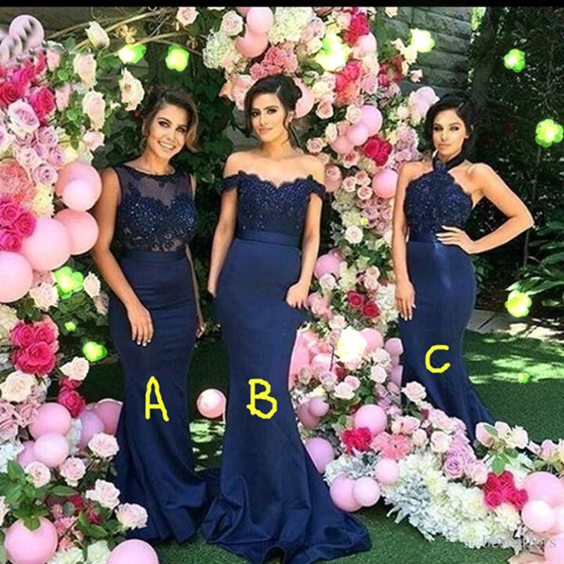 Vintage Navy Blue   Bridesmaid     Dresses   2017 Arabic Mermaid Lace Satin Wedding Party Gowns Custom Made Maid of Honor   Dress