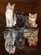 цена на Diamond Painting Cat Animal 5D DIY Mosaic  Embroidery Tiger Full Square Decor Home Picture Of Rhinestone