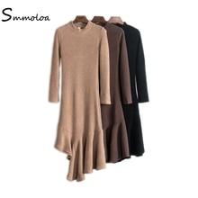Smmoloa осенние модные длинные оборками Асимметричный вязаное платье