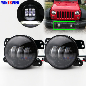 4 Inch Led Fog Light Round  Headlight 30W Projector lens With Halo DRL Lamp for Jeep Wrangler Dodge Chrysler Front Bumper Lights