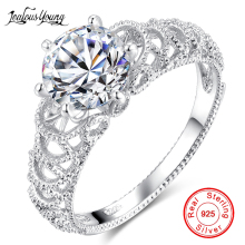 White Silver Color Round Crystal Ring Inlay AAA Cubic Zirconia Engagement Rings for Women Party Jewelry Gift anillos mujer